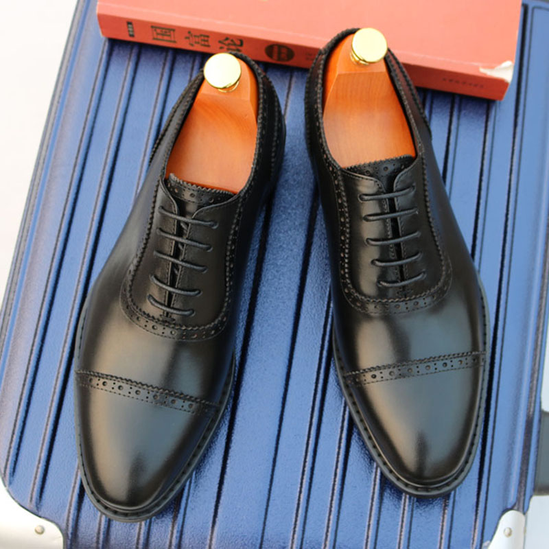 Block carved mens shoes British leather formal leather shoes mens three joint leather Oxford Oxford Shoes