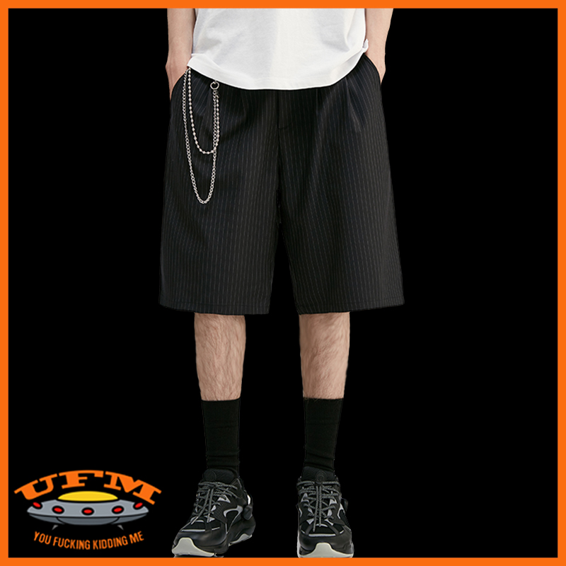 European and American hip hop Hong Kong Style Japanese Harajuku fashion brand loose straight tube five Pants Suit Shorts striped trousers mens trousers