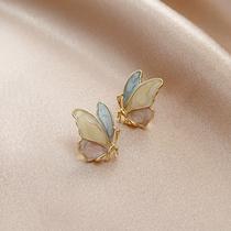 淡紫色蝴蝶耳环可爱小巧夏季耳钉小清新百搭立体耳饰品S925纯银针