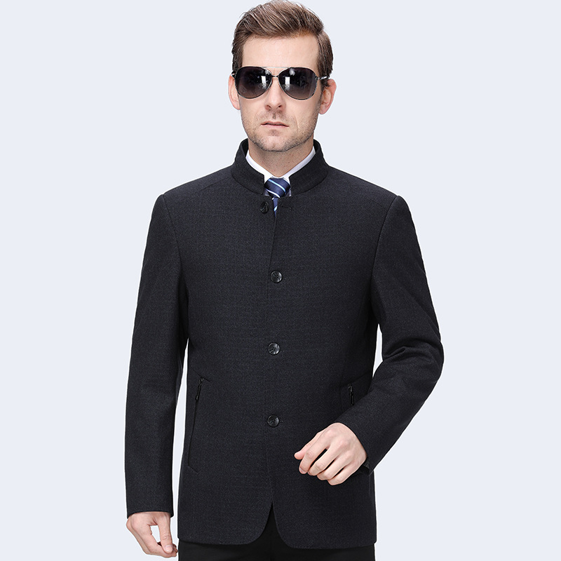 A new autumn 2019 middle aged mens casual jacket mens business solid collar jacket 2009