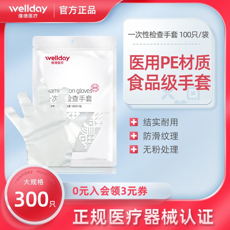 ウェルド医用使い捨て手袋検査厚透明フィルムレストランキッチンに家庭用冷食品手袋を使用しています。