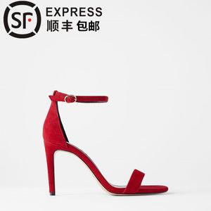 新款女鞋红色绒面羊皮革高跟凉鞋婚鞋新娘鞋灰色中跟一字带细跟
