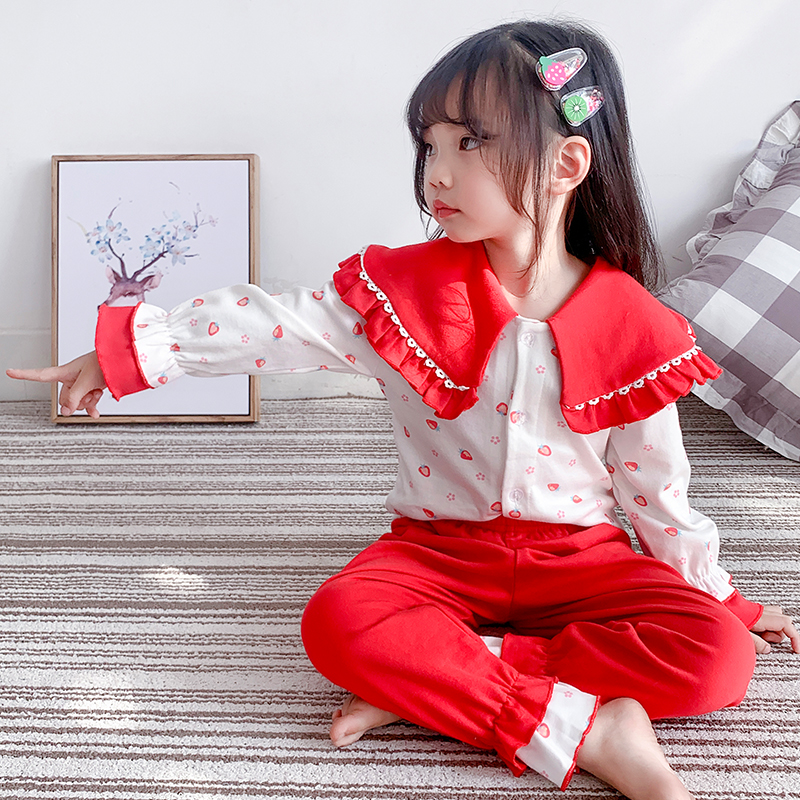 女童睡衣春秋纯棉可爱超萌公主宝宝小孩儿童家居服分体两件套套装