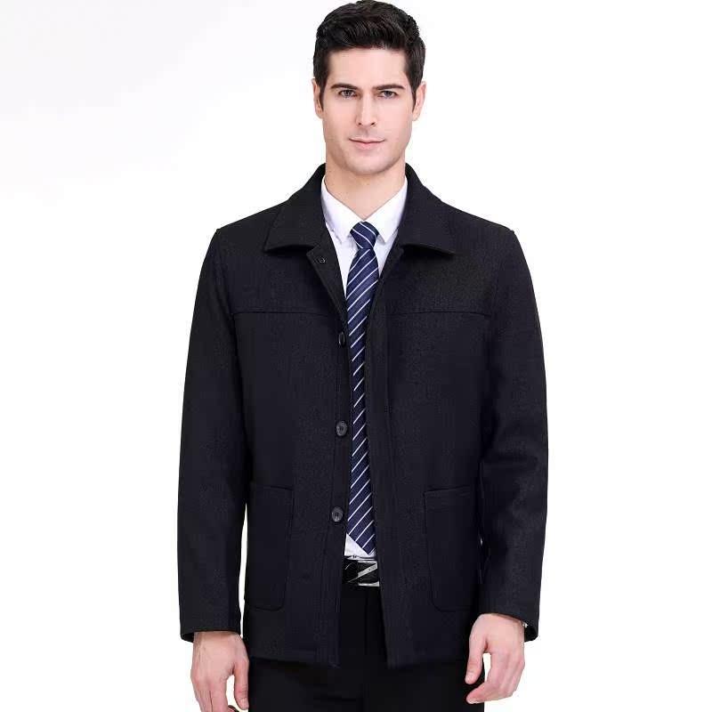 2020春秋季呢夹克男装商务休闲中年翻领加厚羊毛呢子外套欧安娜