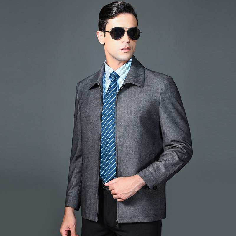 Autumn wool jacket mens stripe business leisure middle-aged and elderly dads loose coat brand hair