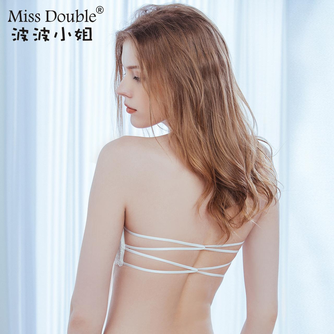 波波小姐夏裹胸薄款防走光无肩带聚拢美背大露背抹胸式文胸内衣女