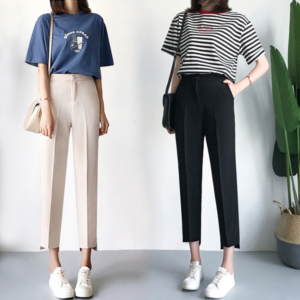 Suit pants womens 2019 summer CEC pants womens pants smoke pipe small trousers nine point straight tube loose and thin Harem Pants
