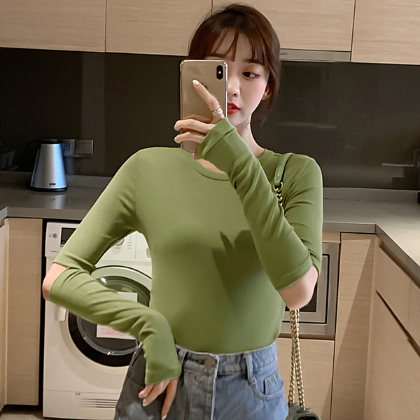Long sleeve T-shirt early autumn 2019 Korean round neck long sleeve base coat student solid color slim T-shirt
