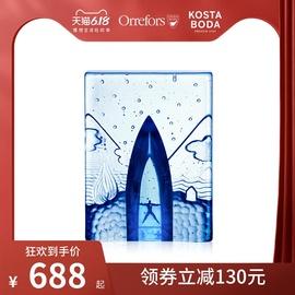 KOSTA BODA进口水晶玻璃 Blues 蓝调系列家居饰品手工制作摆件图片