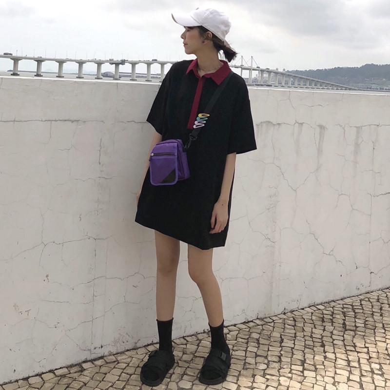 Лето 2018 новая коллекция Женщина фасон средней длины Юбка сплошной цвет короткий рукав Футболка с длинным рукавом прогрессивный Одеяние