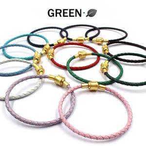 周家款手串转运珠手链可穿3D硬金饰品编织红色皮绳半成品串珠手绳