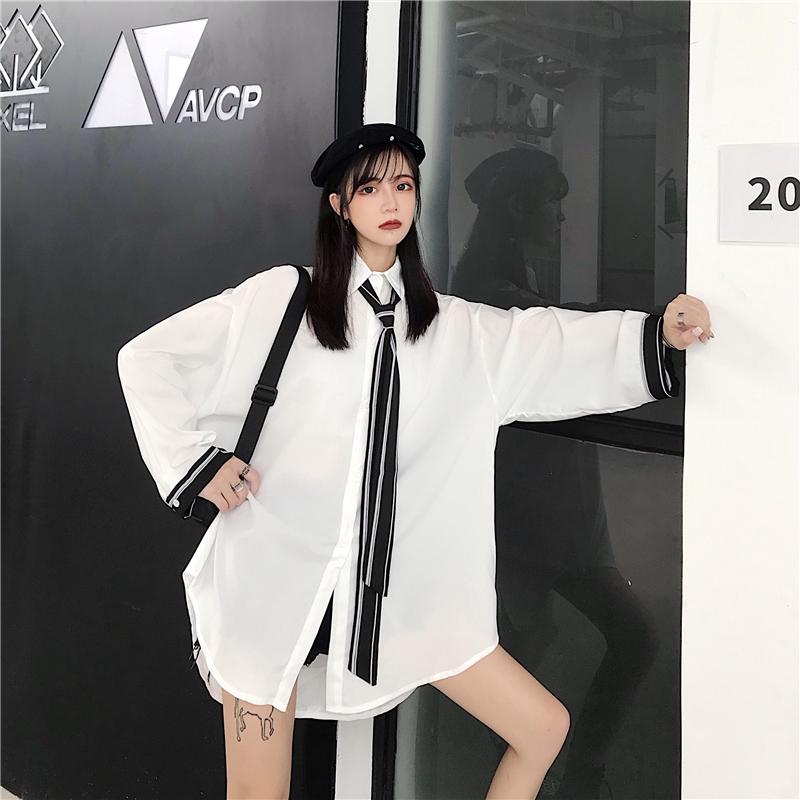 售價+5實拍!韓版超仙的領帶顯瘦純色中長款復古襯衫寬松女上衣潮