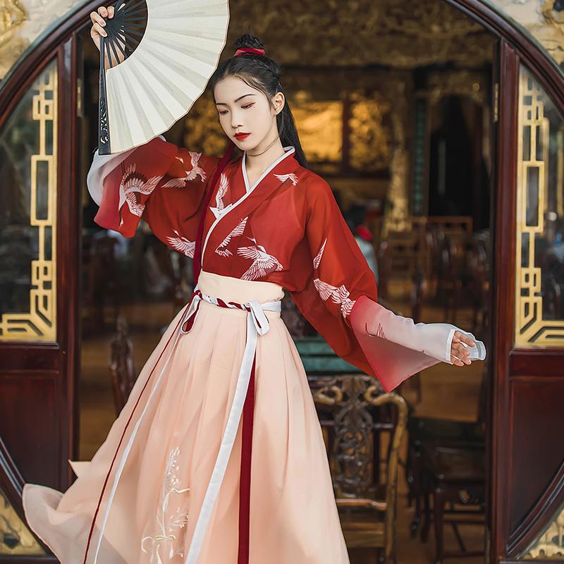 汉尚华莲一点春传统汉服女装交领襦裙齐腰仙鹤印花直袖渐变日常夏