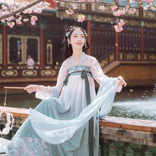 Han Shang Hualian Traditional Han Dresses Women's Dresses Summer-Tang High-waist, Chest-length Skirt Genuine Original Daily Fresh Spring Style