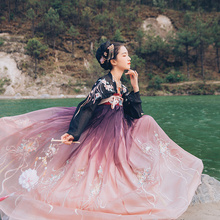 Hanshang Hualian X World 3 Co-op Penglai Hanjacket Women's High waist, chest-length skirt Chinese wind 6 meters big summer dress