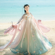 Han Shang Hualian Painting Skin Original Hanfu Female Summer Chinese Style Chest-length Skirt Gradual Change Colors Super Immortal 6-meter Colored Pendant