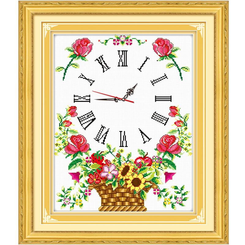 绣魁印花十字绣 花篮钟繁花似锦二 挂钟钟表卧室温馨浪漫挂画系列