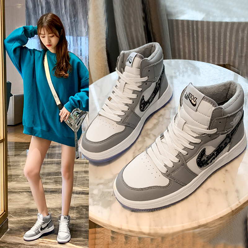 2020 autumn and winter star same AJ womens shoes official website flagship store high top basketball sports board shoes student cotton shoes
