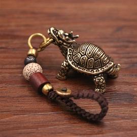 复古纯铜圣兽龙头玄武黄铜实心乌龟挂件镇纸招财汽车钥匙扣挂坠