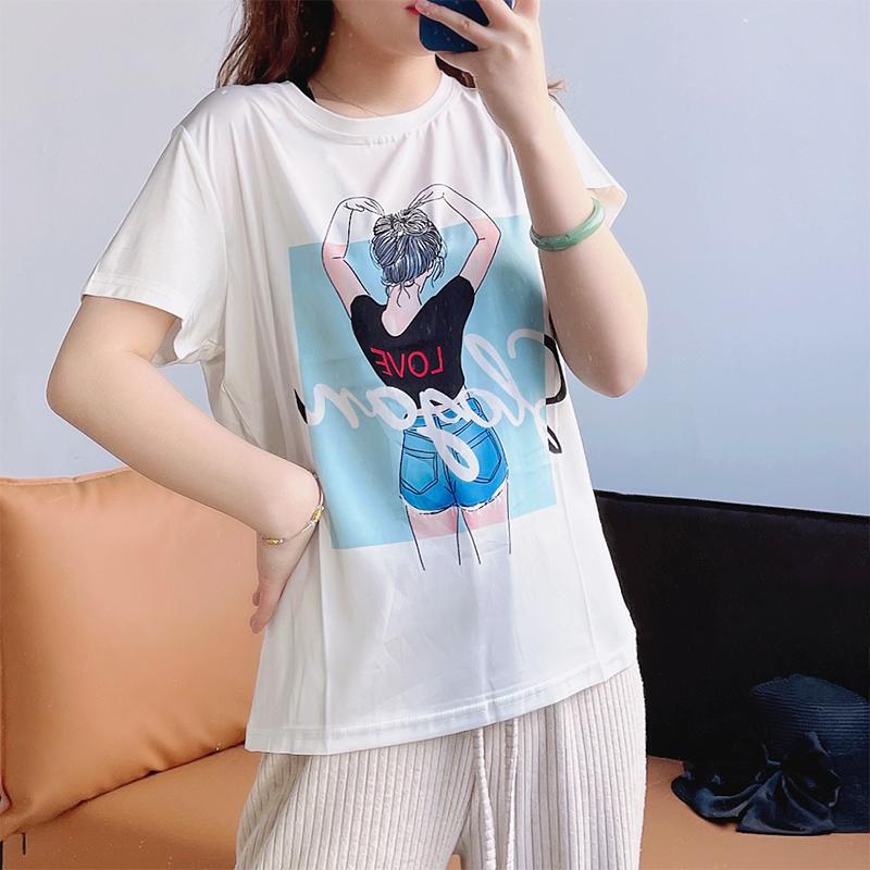 2021 summer heavy silk top T-shirt womens short sleeve mulberry silk printing sweet foreign style vest tide versatile white