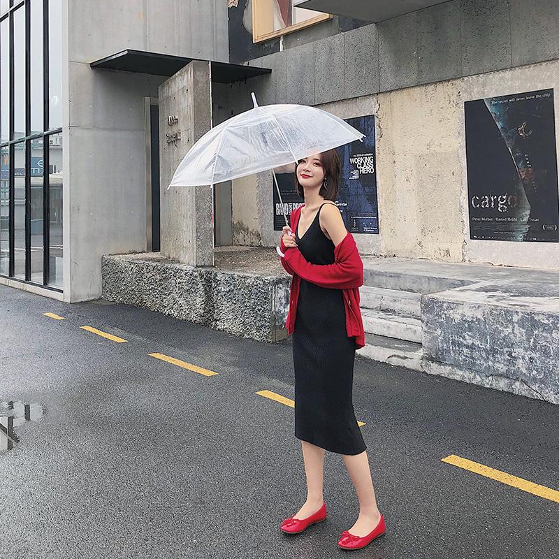 秋装女装2018新款chic黑色吊带裙子早秋针织打底连衣裙小黑裙长裙