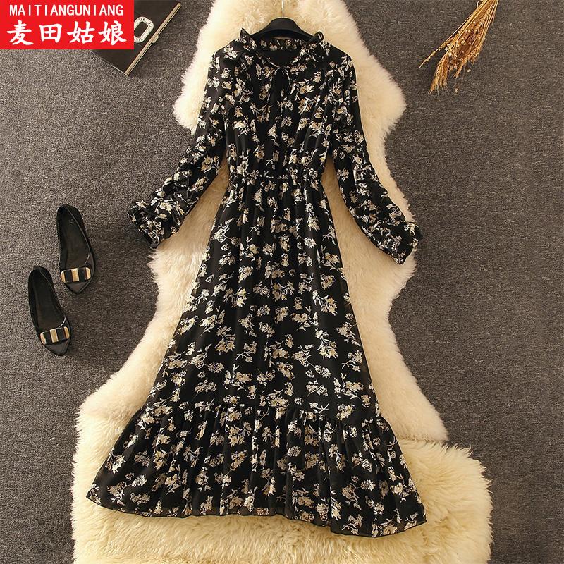雪纺连衣裙2020秋冬新款女装中长款加绒碎花内搭不规则打底裙子潮