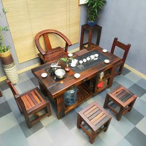 老船木新中式小户型功夫家用茶桌椅