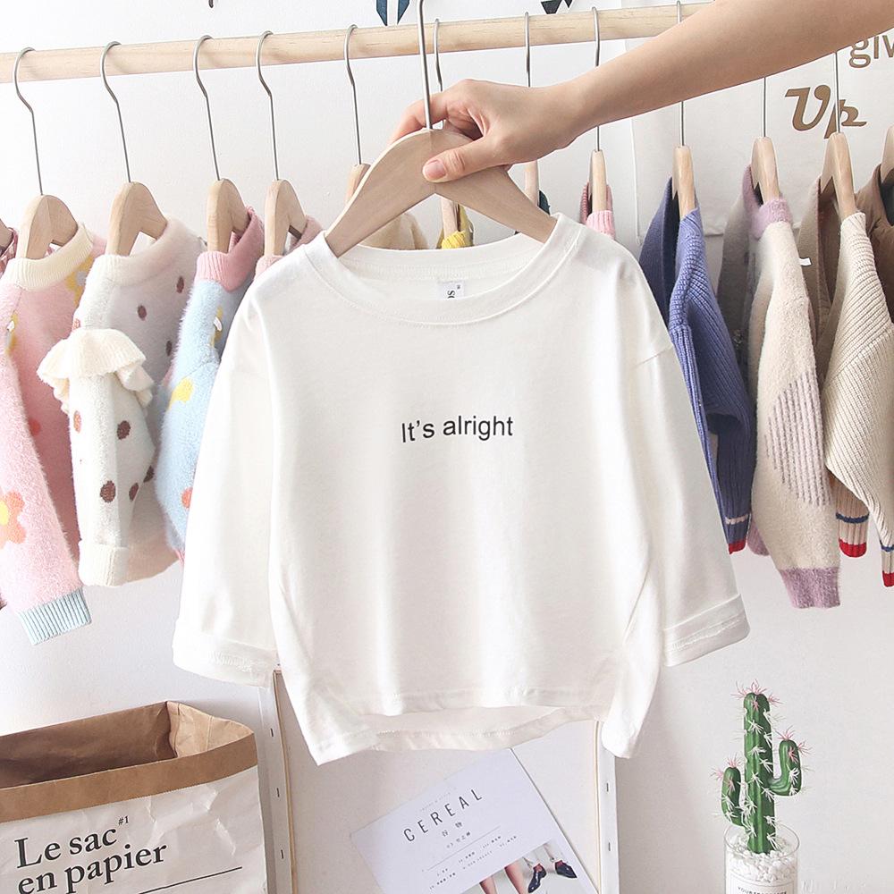 。女童秋款打底衫1洋气2婴儿童装棉质T恤上衣3小童白色打底衫4春