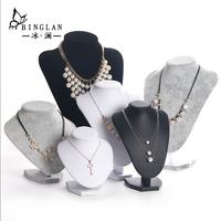 冰澜绒布项链展示架首饰颈模饰品架人像模特脖子珠宝展示道具