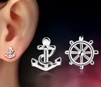 Ningning anchor style copper plated Tremella nail Korean EARRINGS CUTE fashion ear jewelry anti allergy
