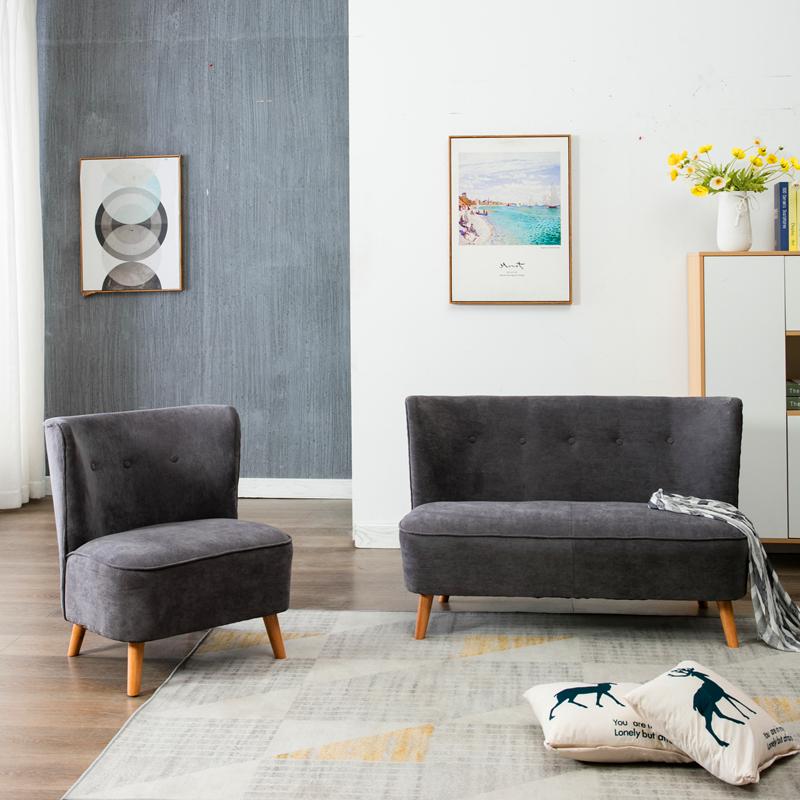北欧沙发椅两人卧室小沙发简约布艺阳台咖啡休闲单人双人布艺沙发满658.00元可用329元优惠券