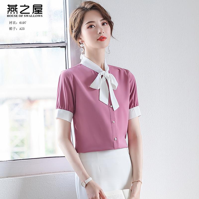 燕之屋雪纺衫女设计小众2020夏新款韩版洋气蝴蝶结上衣短袖职业装