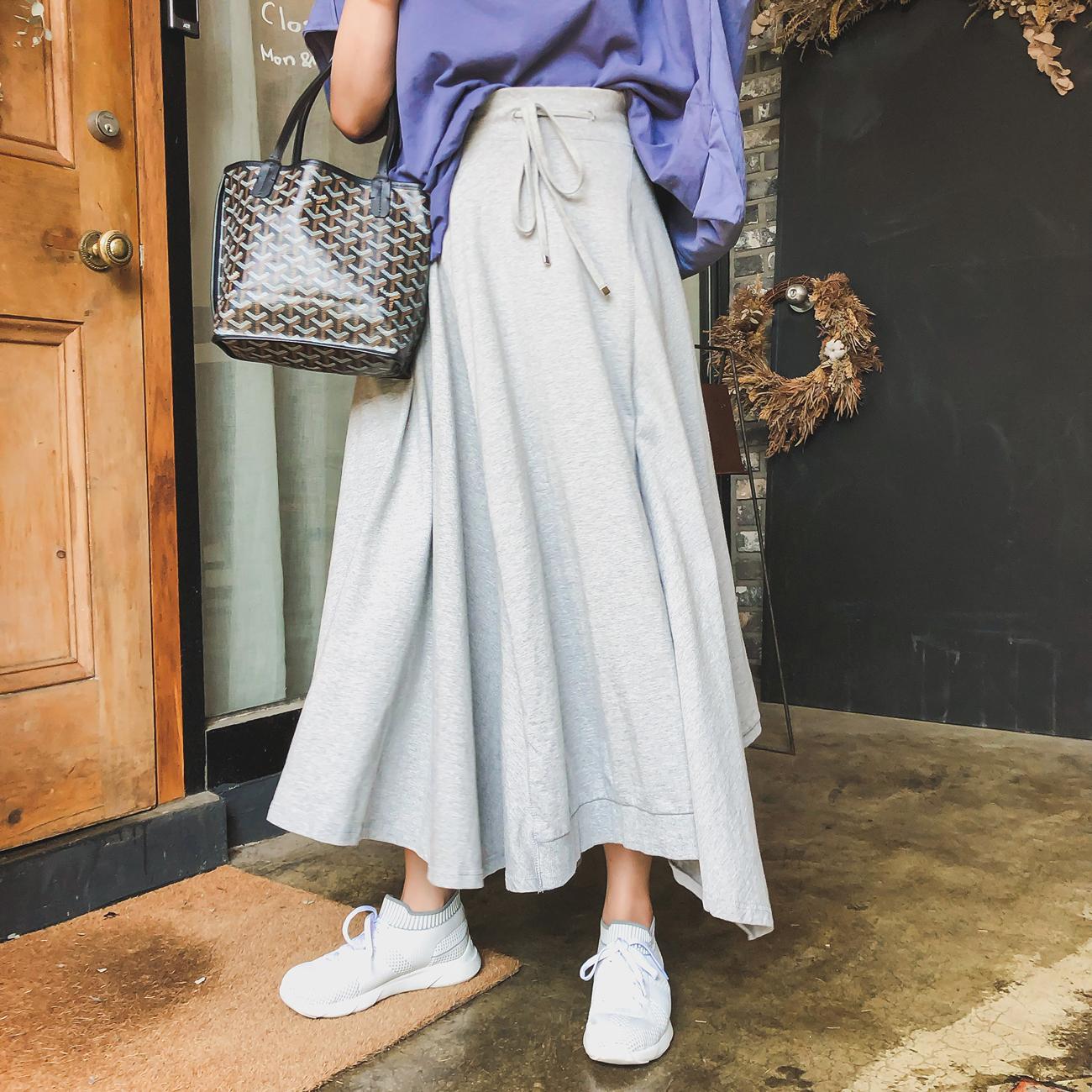 豆腐小姐大码胖mm灰色棉质中长款半身裙胖人裙子夏胖女生夏装女装