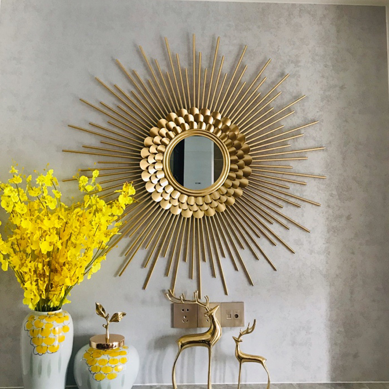 Sun mirror wall hanging metal wall decoration porch hanging decoration living room dining room home furnishing wall decoration wall decoration pendant originality