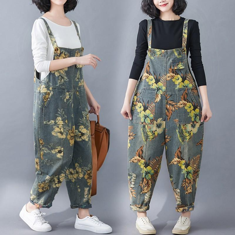 Spring and summer new retro printed denim suspenders womens high waisted casual patch pocket perforated suspender Jumpsuit pants