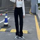 秋冬薄绒显瘦高腰烟管裤 子 黑色加绒牛仔裤 加长直筒裤 女2021年新款