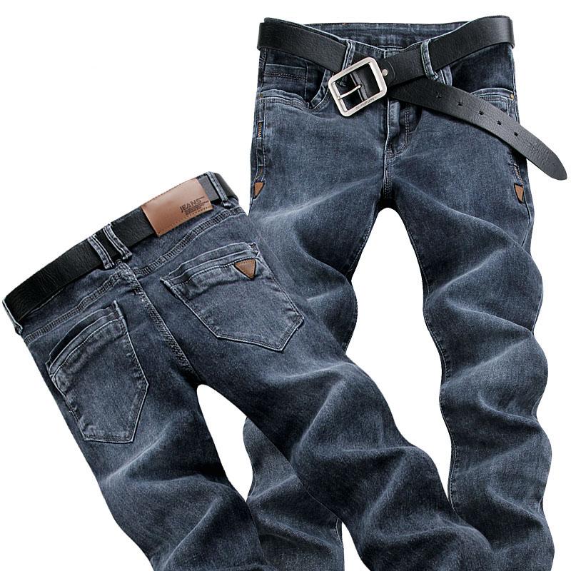 欧洲站男士春夏烟灰色牛仔裤男2021年新款潮牌弹力修身小脚长裤子