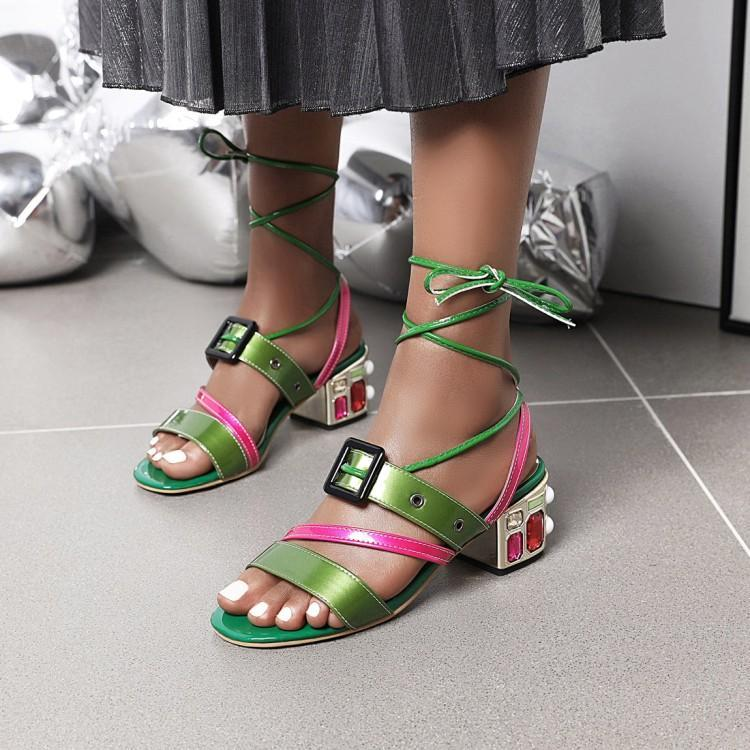 European and American summer sandals ankle strap color matching belt buckle Rose Red Green Rhinestone Beaded high-heeled womens shoes