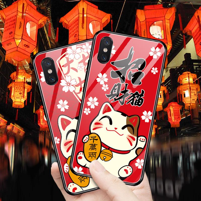 苹果x手机壳iPhoneXS新款max玻璃8plus女Xr潮牌招财猫ip7个性创意iphonexs网红6splus全包防摔6带挂绳5卡通款