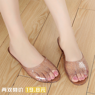 夏季新款浴室拖鞋女水晶果冻凉鞋家居室内拖女塑料橡胶防滑妈妈鞋