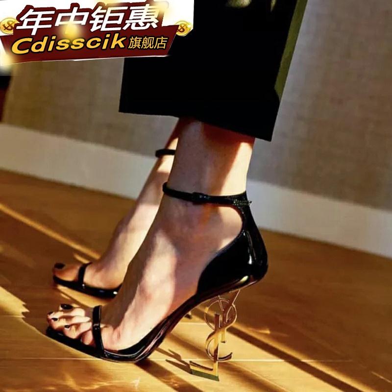 百搭字母时尚超高跟细跟性感一字带明星凉鞋女异型2020夏同款方头