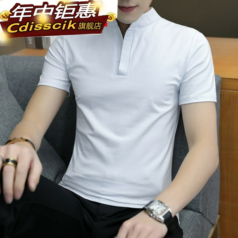 Summer mens pure black T-shirt short sleeve T-shirt middle aged mens cotton polo. Youth top cool T-shirt pl