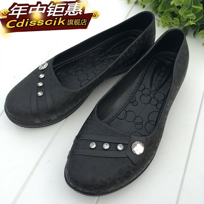 Summer middle aged womens shoes waterproof and antiskid plastic rubber shoes kitchen old womens shoes low top short tube womens shoes rain boots