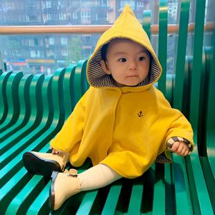 婴儿男女宝宝披风抱被新生儿防风小斗篷外出 儿童披肩外套春秋冬季