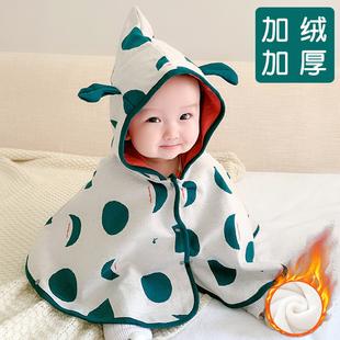 嬰兒披肩防風外套男女寶寶披風春秋冬季加絨加厚外出保暖擋風斗篷