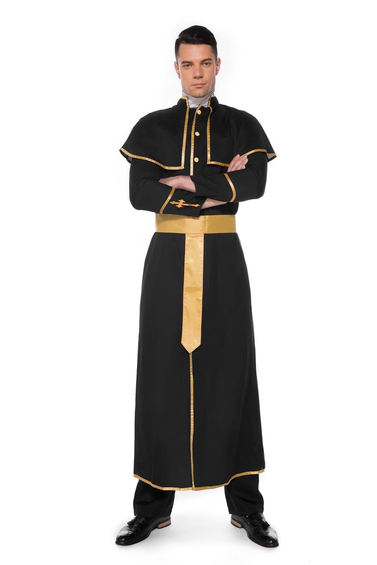 ハロウィンの服装の新型の成人の牧師のカップルは女性の修道士の役を詰めて服装を演じます