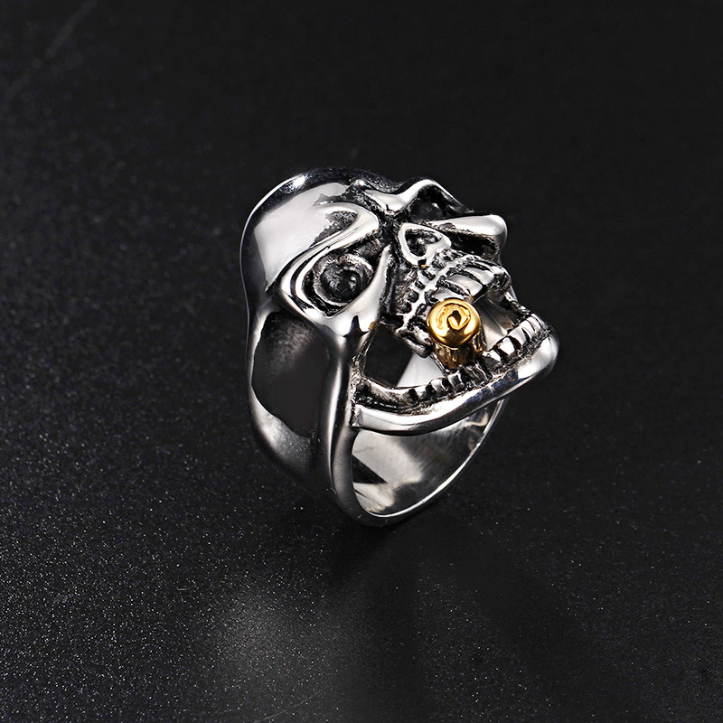 Personality fashion rock fashion talent jewelry single domineering Skull Ring Europe and America