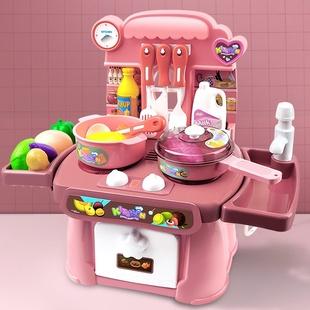 儿童过家家厨房女孩蛋糕切水果蔬菜玩具切切乐魔术贴购物车手推车