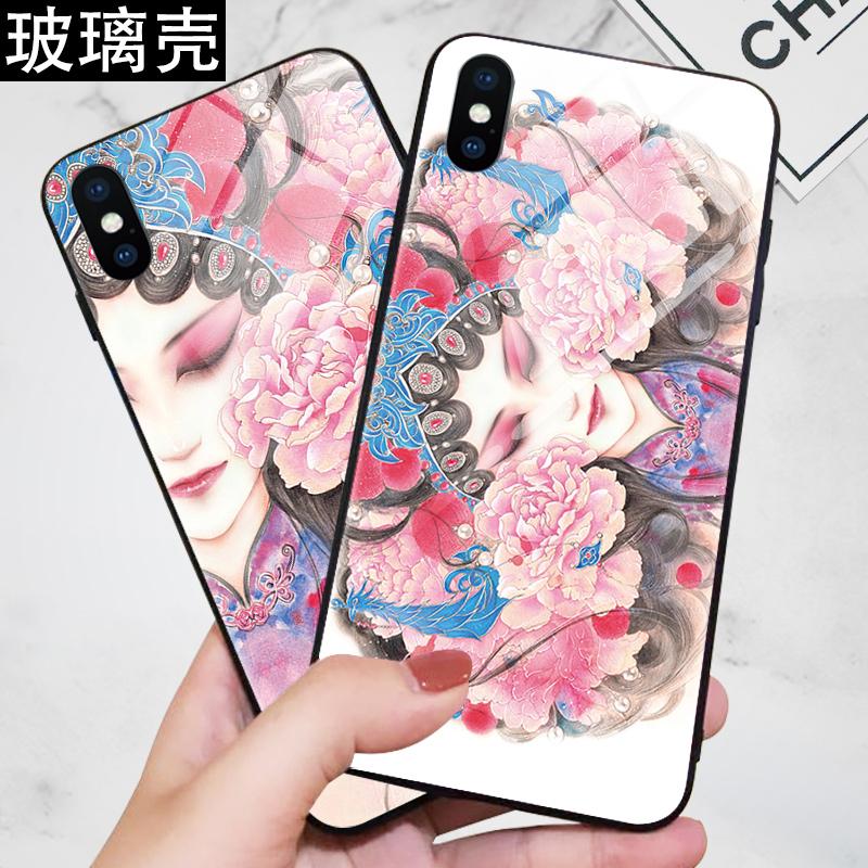 中国风iPhonexsmax手机壳苹果6s玻璃壳xr京剧花旦7/8plus戏曲个性苹果x复古创意6sp硅胶软套xs女款