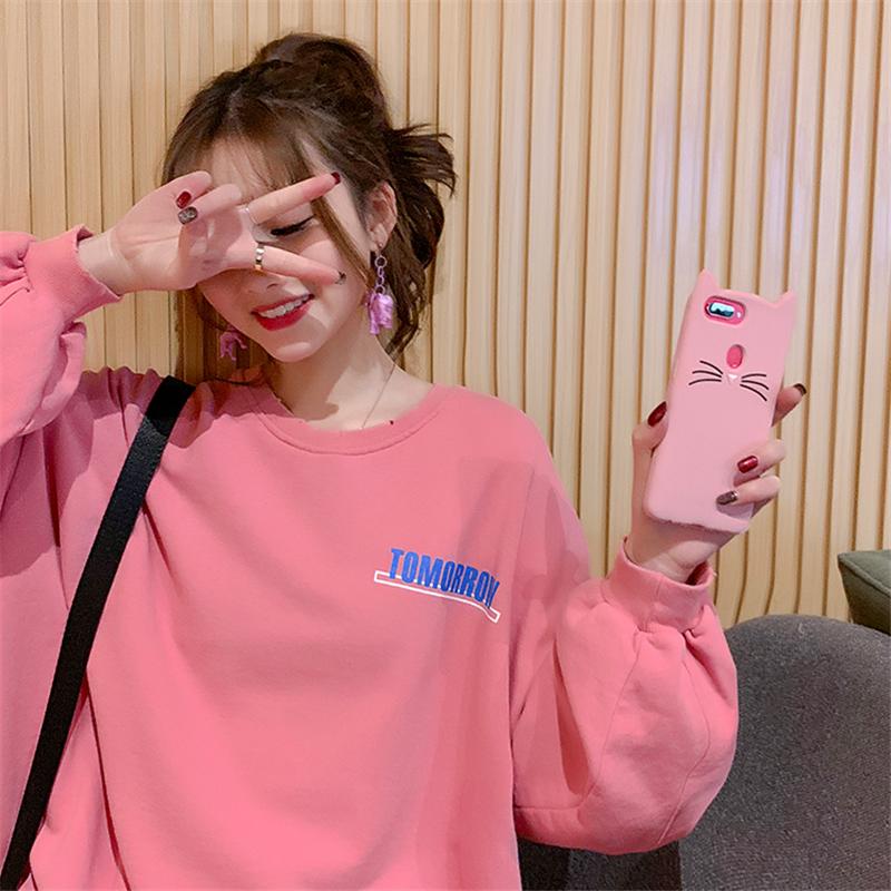 韩版慵懒风粉色中长款卫衣 粉粉嫩嫩少女元气